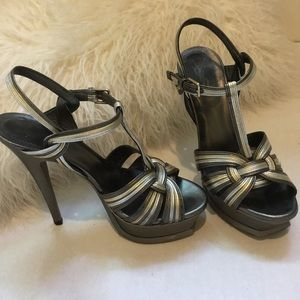 YSL Tribute Sandals Grey Silver Gold Size 35